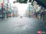 Một góc đường Lý Thái Tổ (quận Hải Châu, TP Đà Nẵng) chìm trong mưa lớn