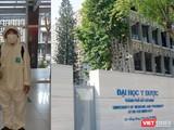 Phun khử trùng giảng đường tại ĐH Y Dược TP.HCM (Ảnh- Hòa Bình ghép)