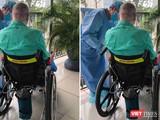 Bệnh nhân 91 đã có thể ra ngoài đi dạo, phơi nắng trên xe lăn (Ảnh: BVCR)