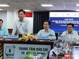 Ông Lê Quốc Cường – Phó Giám đốc Sở Thông tin và Truyền thông phát biểu tại họp báo sáng 25/6, khởi động Hội thi trí tuệ nhân tạo, thúc đẩy hệ sinh thái AI (Ảnh: Hòa Bình)