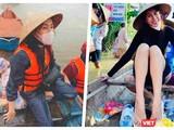 Thuỷ Tiên tuyên bố tiền cứu trợ bão lũ đã tăng lên 150 tỉ đồng (Ảnh: FBNV, Hoà Bình ghép)