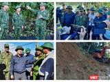 Phó thủ tướng Trịnh Đình Dũng và Trung tướng Nguyễn Long Cáng đang chỉ huy cứu nạn tại huyện Nam Trà My (Ảnh: Hoà Bình ghép)