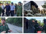 Lực lượng quân đội mở đường vào cứu nạn 53 người bị vùi lấp ở Trà Leng (Ảnh: Hoà Bình ghép)