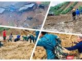 Thảm cảnh tan hoang sau vụ lở núi Phước Sơn sáng nay (Ảnh: Hoà Bình ghép)
