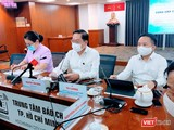 Ông Nguyễn Tấn Bỉnh - Giám đốc Sở Y tế TP.HCM trả lời báo chí về tình hình ứng phó với dịch bệnh COVID-19 giai đoạn mới (Ảnh: Hoà Bình)