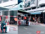 Lực lượng chức năng đã phong toả khu Chung cư Sư Vạn Hạnh, nơi BN1451 sống tại Lầu 4 (Ảnh: Hoà Bình)
