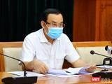 Ủy viên Bộ Chính trị, Bí thư Thành ủy TP.HCM Nguyễn Văn Nên tại cuộc họp. Ảnh TTBC