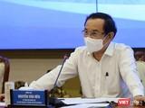 Bí thư Thành uỷ TPHCM Nguyễn Văn Nên chủ trì cuộc họp về COVID-19 cùng với Chính phủ - Ảnh TTBC