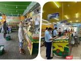 Chuỗi cửa hàng Bách Hoá Xanh đã vướng phải cơn phẫn nộ của cộng đồng người dân vì tăng giá thực phẩm mùa dịch - Ảnh Hoà Bình ghép