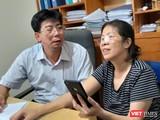 Bà Nguyễn Bích Quy trong buổi trả lời phỏng vấn báo chí cùng luật sư ngày 22/8.