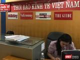 Khu vực lễ tân tại Thời báo Kinh tế Việt Nam, một ngày sau khi quyết định chấm dứt hoạt động có hiệu lực (16/7).