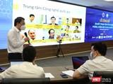 Thứ trưởng Nguyễn Huy Dũng giới thiệu về Trung tâm công nghệ phòng, chống dịch COVID-19 Quốc gia.