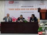 """PGS. TS Vũ Thanh Ca (trái) phát biểu tại buổi toạ đàm """"Thuỷ điện nhỏ và vấn đề lũ lụt"""" do CLB Café Số và VietTimes phối hợp thực hiện"""