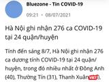 Thông tin Hà Nội ghi nhận 276 ca mắc COVID-19 tại 24 quận, huyện được thông báo trên ứng dụng Bluezone (Ảnh - VT)