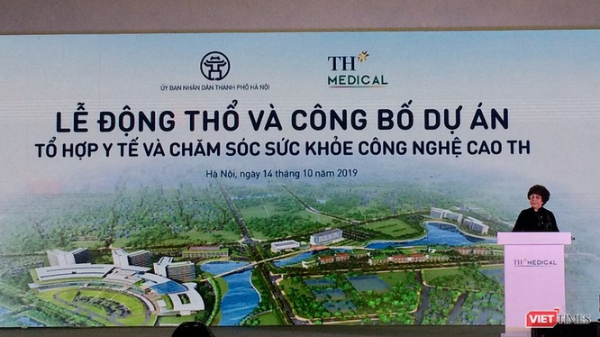 Bà Thái Hương phát biểu tại buổi lễ động thổ dự án TH Medical