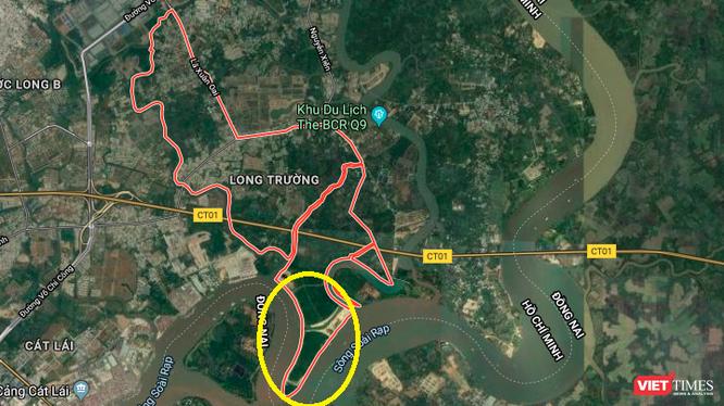 Vị trí dự án 156ha do Sài Gòn Gôn làm chủ đầu tư (Ảnh chụp màn hình - Nguồn: Google Maps)