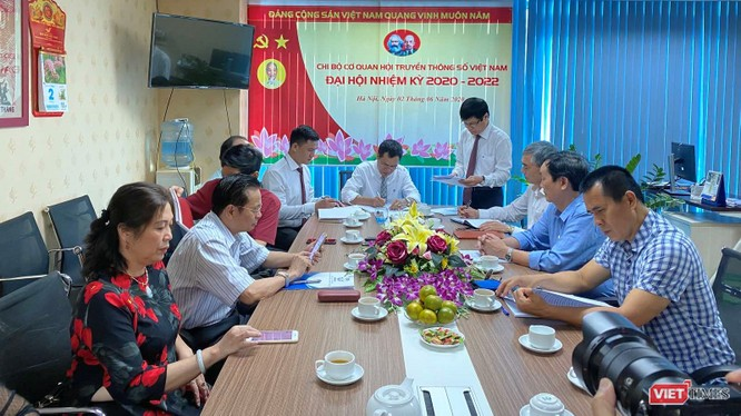Toàn cảnh Đại hội nhiệm kỳ 2020 – 2022 của Chi bộ Cơ quan Hội Truyền thông số Việt Nam sáng 2/6/2020