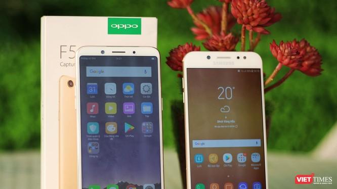 Oppo F5 và Galaxy J7 Plus là hai mẫu smartphone tiên phong cho Samsung và Oppo ở phân khúc tầm trung. Nguồn: VietTimes