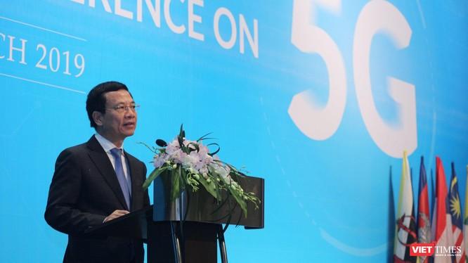 Bộ trưởng Bộ Thông tin & Truyền thông Nguyễn Mạnh Hùng phát biểu khai mạc Hội thảo ASEAN về 5G.