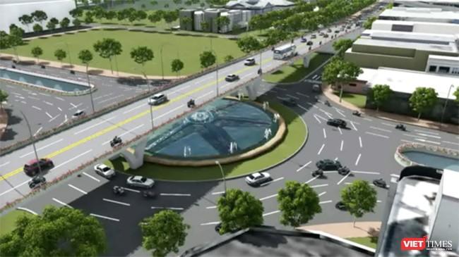 Phối cảnh Nút giao thông cầu Trần Thị Lý-Duy Tân-đường 2/9 được thiết kế 3 tầng và dự kiến có tổng mức đầu tư khoàng 520 tỷ đồng.