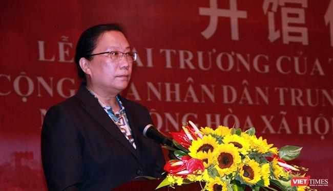 Bà Hy Tuệ, Tổng Lãnh sự Trung Quốc tại Đà Nẵng phát biểu tại lễ khai trương Tổng lãnh sự quán Trung Quốc tại Đà Nẵng