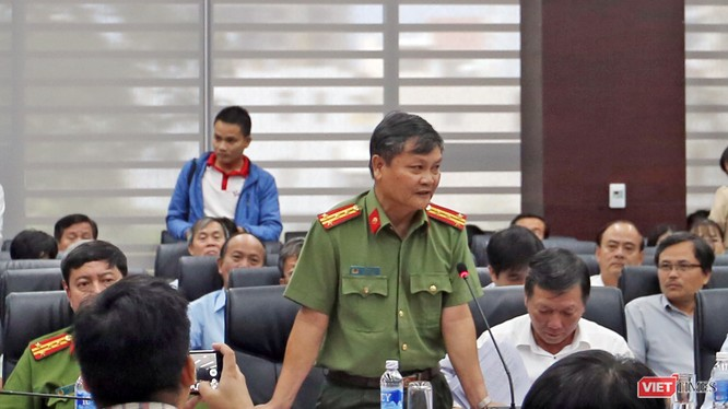 Đại tá Nguyễn Đức Dũng, Trưởng phòng Tham mưu tổng hợp, Công an TP Đà Nẵng trả lời tại Họp báo.