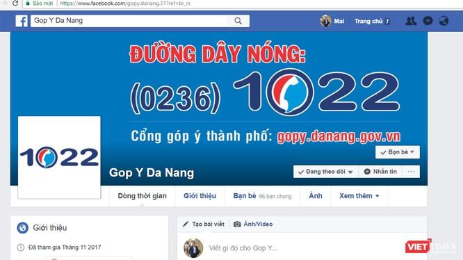 Tổng đài Đường dây nóng (0236)1022 của UBND TP Đà Nẵng đã chính thức lên mạng xã hội facebook để hỗ trợ người dân. Ảnh chụp màn hình: Hồ Xuân Mai