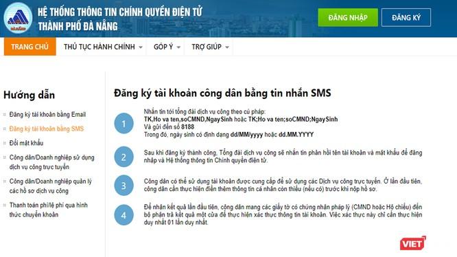 Sở TT&TT TP Đà Nẵng vừa đưa vào tính năng đăng ký tài khoản công dân điện tử qua tin nhắn SMS trên điện thoại di động để thuận lợi cho tổ chức, công dân sử dụng.