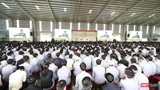 Ông Trần Bá Dương, Chủ tịch HĐQT THACO đọc thông điệp đầu năm tạo động lực để THACO phát triển trong năm 2019 và tương lai.