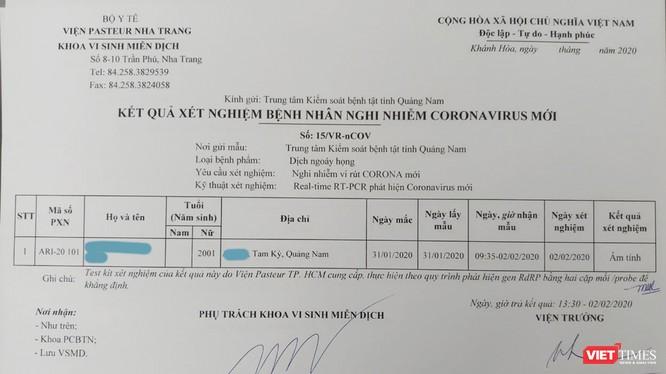 Phiếu xét nghiệm bệnh phẩm của nữ sinh viên N.T.H.N (Quảng Nam) đã âm tính với virus corona.