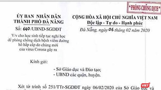 Văn bản của UBND TP Đà Nẵng thống nhất đề nghị của Sở GD&ĐT TP Đà Nẵng, đồng ý cho học sinh trên địa bàn tiếp tục nghỉ học từ ngày 10/2 - 16/2 để phòng chống dịch do virus Corona gây ra.