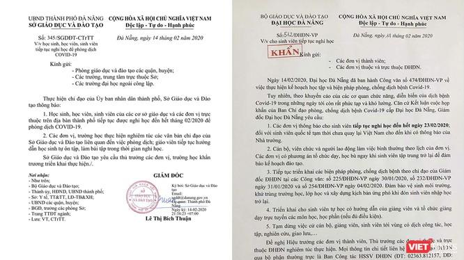 Văn bản của Sở GD&ĐT TP Đà Nẵng ra thông báo cho học sinh, sinh viên trên địa bàn TP nghỉ học đến hết tháng 02/2020, theo ý kiến của Chủ tịch UBND TP Đà Nẵng.