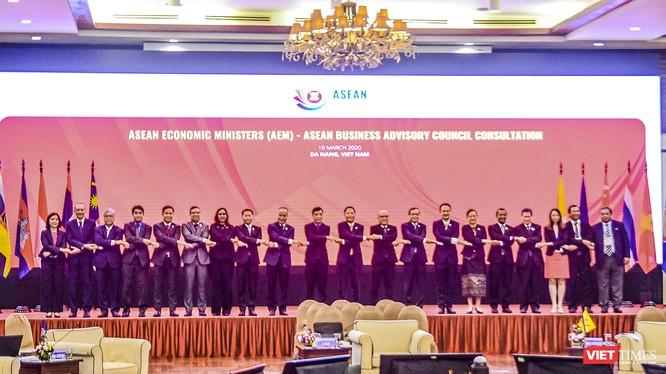 Các đại biểu tham dự Hội nghị Bộ trưởng Kinh tế ASEAN hẹp lần thứ 26 chụp ảnh lưu niệm