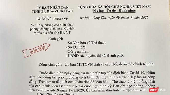 Văn bản chỉ đạo hỏa tốc của UBND tỉnh Rịa-Vũng Tàu về việc dừng tất cả hoạt động vui chơi giải trí trên địa bàn kể từ trưa 19/3