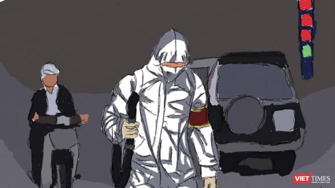 Bức vẽ của sinh viên Ngọc Anh chia sẻ với các lực lượng phòng chống dịch COVID-19