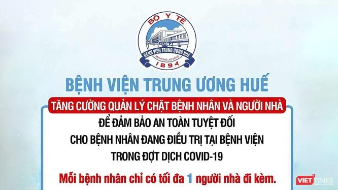 Thông báo phòng chống dịch COVID-19 của Bệnh viện Trung ương Huế