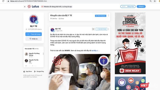 Giao diện trang thông tin của Bộ Y tế trên mạng xã hội Lotus.
