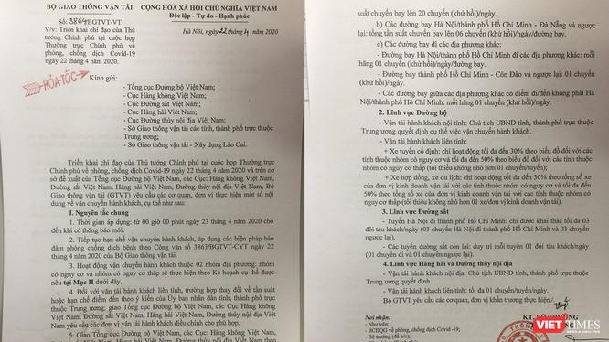 Văn bản chỉ đạo cỉa Bộ GTVT đối với các chuyến bay từ Hà Nội/TP HCM đến Đà Nẵng từ 23/4
