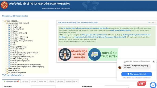 Cổng cơ sở dữ liệu dịch vụ hành chính trực tuyến thành phố Đà Nẵng