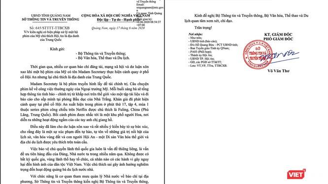 Công văn của Sở TT&TT tỉnh Quảng Nam gửi Bộ TT&TT và Bộ VH-TT& Du lịch liên quan đến việc bộ phim có tên Madam Secretary do Mỹ sản xuất có chú thích sai lệch về địa danh Hội An của Việt Nam
