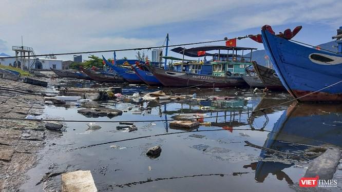 Một góc âu thuyền Thọ Quang (Đà Nẵng) bị rác thải tấn công