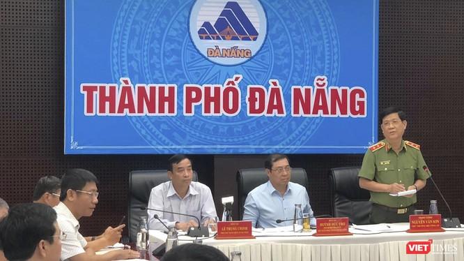 Trung tướng Nguyễn Văn Sơn - Thứ trưởng Bộ Công an phát biểu tại đầu cầu TP Đà Nẵng