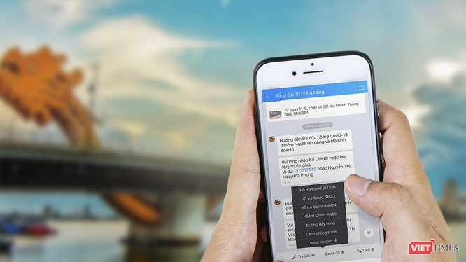 """Ứng dụng tra cứu kết quả hỗ trợ bằng Zalo thông qua tài khoản """"Tổng đài 1022 Đà Nẵng""""."""