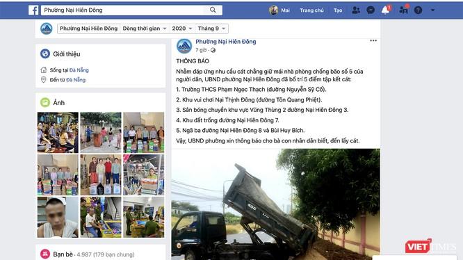 UBND phường Nại Hiên Đông (TP Đà Nẵng) sử dụng facebook để đăng thông tin về việc bố trí 5 điểm tập kết cát, cấp miễn phí cho dân chằng chống bão số 5.