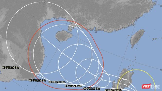 Bản đồ dự báo diễn biến bão số 8 (bão Saudel) của cơ quan khí tượng Nhật Bản