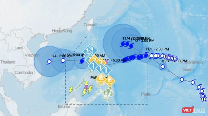Dự báo bão của PAGASA (Philippines) về 2 cơn bão mới Goni và Atsani đang hình thành trên biển