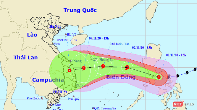 Đường đi của bão số 10 sau khi đi vào biển Đông