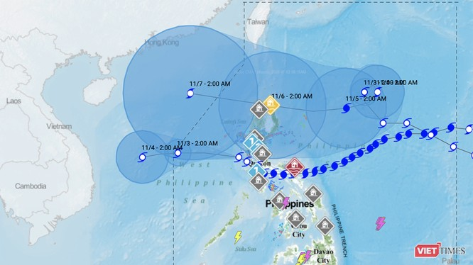 Dự báo đường đi của bão số 10 (bãi Goni) và bão Atsani của cơ quan khí tượng Philippines