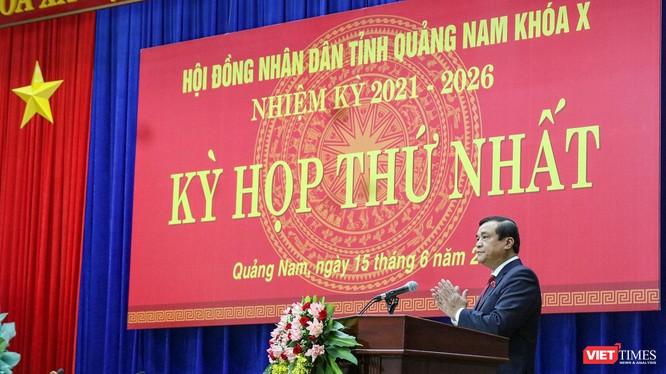 Ông Phan Việt Cường - Ủy viên Trung ương Đảng, Bí thư Tỉnh ủy, Chủ tịch HĐND khóa X phát biểu tại kỳ họp