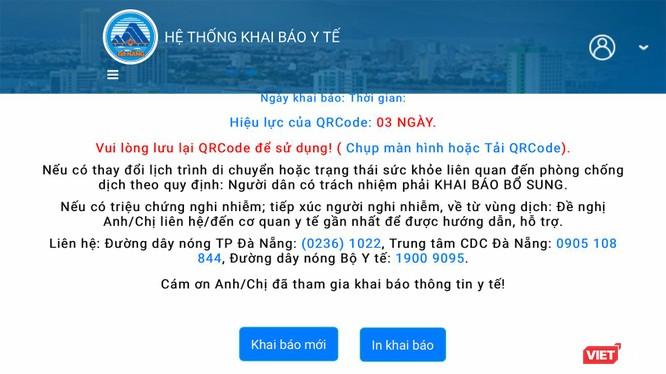 Giao diện ứng dụng khai báo y tế bằng QRcode được Đà Nẵng triển khai để kiểm soát phòng dịch COVID-19